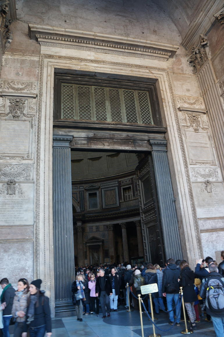 The entrance into the Pantheon. - Rome