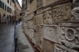 Urns of Montepulciano's early settlers is within this wall. - July 2013