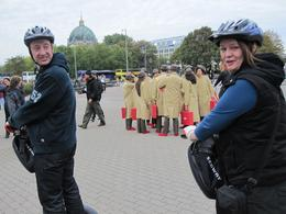 """Whilst on the tour we were filmed for an advert for Camper shoes! - the """"cast"""" are in the background wearing brown coats!, Adrian A - October 2009"""
