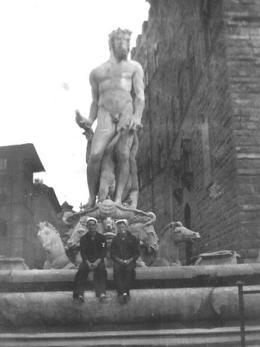 My father at Neptune's fountain in 1945 , John M - May 2011