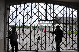 the gates into Dachau, ironically the writing says and quot;work sets you free' for those poor souls that went through these gates it did everything but set them free.. It's unfathomable how cruel ... , Manuela V - June 2013
