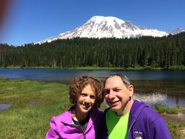 Hubby Alan and I with gorgeous Mt. Rainier in the background. , Harriet C - June 2015