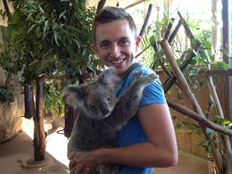 Koala hugging Brock, Asha & Brock - July 2013