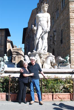 My wife and I at Neptune's fountain in 2011 , John M - May 2011