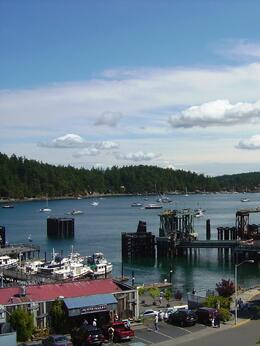 View from Friday Harbor of the bay and another island , Leah - May 2011