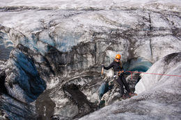 Repelling down into the Ice Canyon for the climb , Leah M - June 2016
