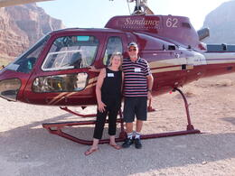 My husband Lew and myself beside our helicopter on our tour of the Grand Canyon. Sandra , LEW G - August 2013