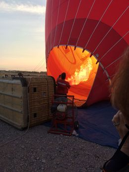 Crew giving the Envelope some heat to get the balloon standing upright... , James L S - April 2015