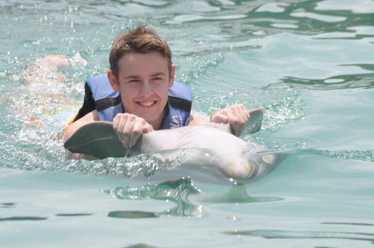 My son enjoying a great moment with his favorite mammal - British Virgin Islands