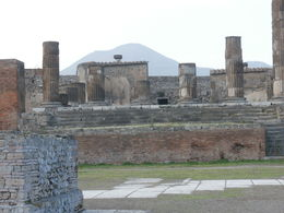 Pompeii market place with Mt Vesuvius in the background. , Carol Y - March 2015