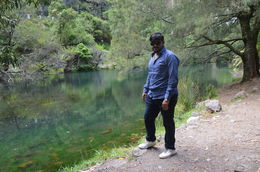 My husband in front of blue lagoon at jenolan caves , aaritu - November 2015