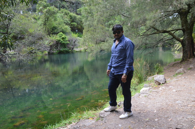 My husband in front of blue lagoon at jenolan caves