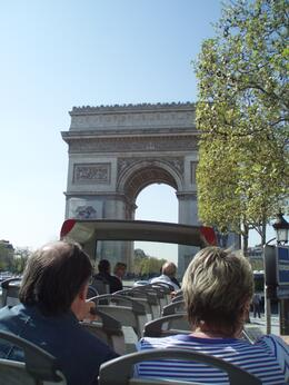 Sitting on the open top bus as we approached the arch de triomphe, Frances - April 2010