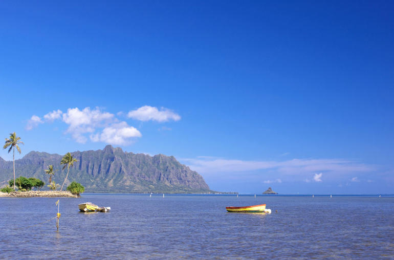 Kayak part of trip: view of Koolau Mountains and Chinaman's Hat from Kaneohe Bay