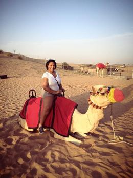 Myself during the camel ride on the desert safari. The camels were so gentle. , Nikki H - June 2014