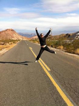 Jumping for joy at being out in the open.... (no cars were coming... I checked). To get an idea of the view go to: http://youtu.be/rojWtBsqOFs , Charlotte - November 2011