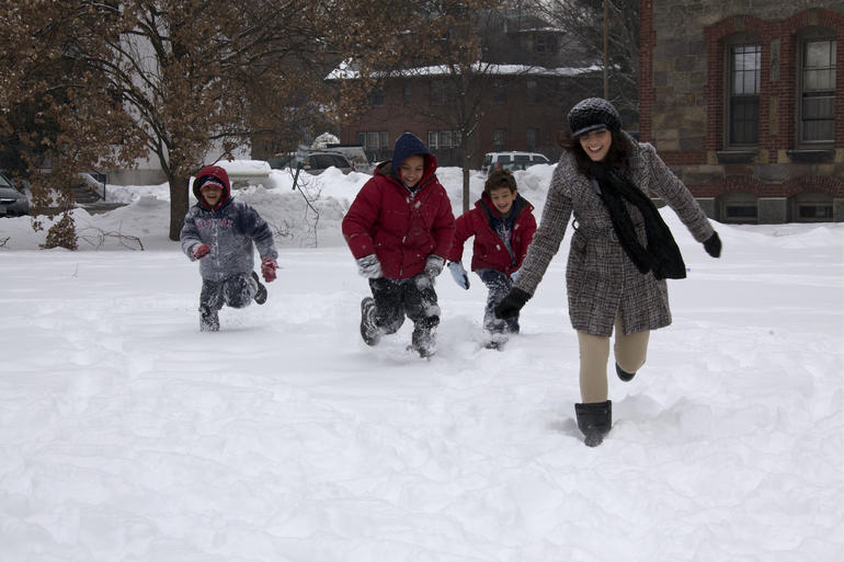 Playing in the snow - Boston