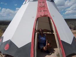 Me again in side of a Tipi at the Hualapai Nation exhibit..Grand Canyon. , Kimela S - September 2012