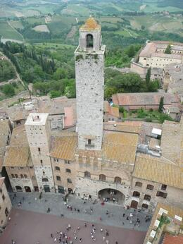 Picture of a tower taken from the top of another tower., William F T - May 2008