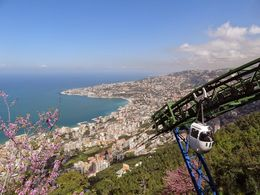 Beautiful coastal panorama from Harissa - complete with cable car up the mountain! , Mark L - April 2015