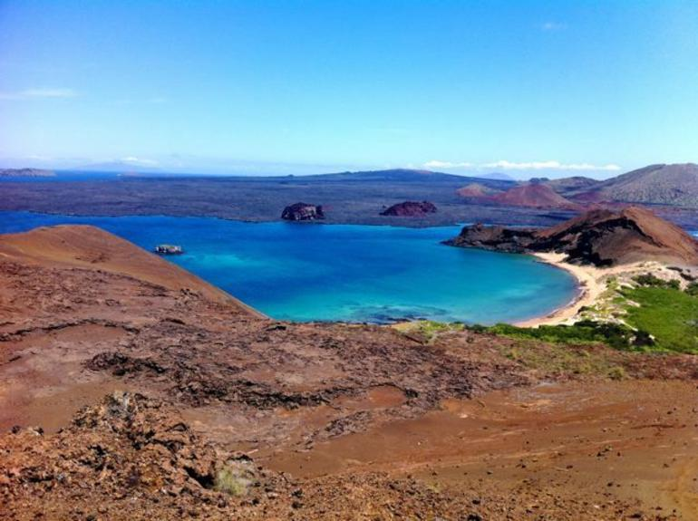 View of Sullivan Bay from the top of Bartolome Island, the Galapagos - Galapagos Islands
