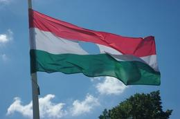 The hole in the flag is a symbol of Hungary's freedom after the collapse of communism. The communist hammer and sickle were in the past the emblem on the flag. This flag waves next to the grave of..., Elmarie Magda D - August 2010