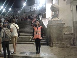 This is my daughter Rachel at the foot of the Spanish steps in her glow jacket . The steps were crowded and the atmosphere was great. Rome seems to be such a lively place both day and night. , derrick t - September 2013