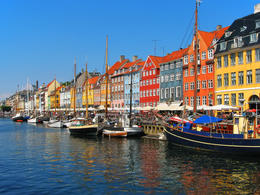Cruising the harbor: Nyhavn in Copenhagen, Denmark - December 2011