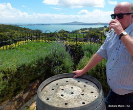 Tom is enjoying a Mudbrick wine. , Tom B - February 2014