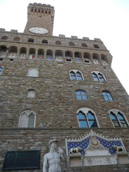 Photo of   Statue of David and Palazzo Vecchio