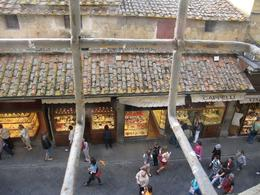 View from Vasari, looking down to street, people and shops of the Ponte Vecchio - May 2009