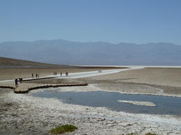 Walking out on the salt flats in BadWater Basin , Madeleine - September 2012