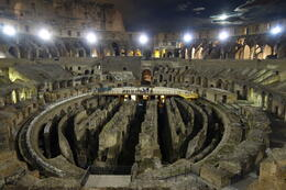 Photo of Rome Viator VIP: Exclusive Rome Rooftop Dinner and Colosseum Night Tour Including Underground Chambers Colosseum interior at night
