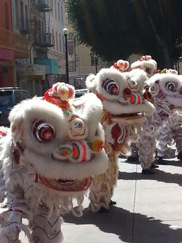As we were walking on our tour of Chinatown, there was this small performance of drummers and Lion Dancers for some celebration. , Rochelle T - March 2014