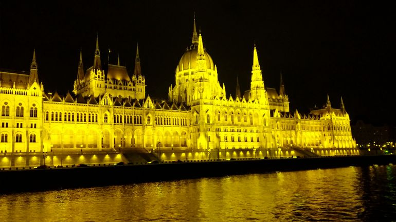 Parliament Building viewed from the Danube River cruise.