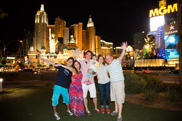 Photo of Las Vegas Viator Exclusive: Las Vegas Strip by Limo with Personal Photographer The family in front of NYNY