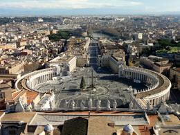 This photo was taken after the walk to the top of St Peter's Basilica and shows the view across the square and Rome. Taken on 25 Jan 14. , Ausmwo - April 2014