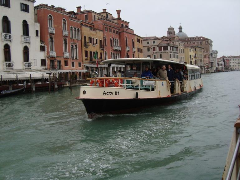 This is a water bus that can take you to the gondola port. - Venice