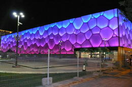 The Water Cube illuminated at night - May 2012