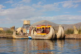 Typical boat of the Uros - we got to ride on one of them!, Bandit - July 2014