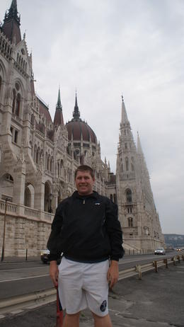 my brother outside the parliament building in Budapest. , Mathew S - January 2011