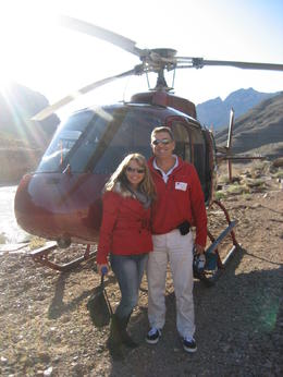 Photo of Las Vegas Ultimate Grand Canyon 4-in-1 Helicopter Tour Our Helicopter sitting at the base of the Grand Canyon