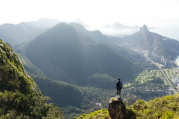 Looking down at Rio de Janeiro from Pedra de Gavea (the world's largest monolith) in Tijuca National Park - December 2011