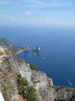 take chair lift to top of mountain in capri , jesus b - September 2011