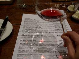 Another artistic photo of the DeBortoli tasting's wine list while sampling a red., Christopher S - November 2009