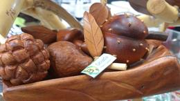 sculpted wood in the format of local fruits, Lucia - February 2013