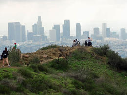 Hikers check out the downtown skyline - May 2013