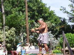 This was a presentation in the Tonga area. He husked the coconut and then cracked it., Donald J - March 2010