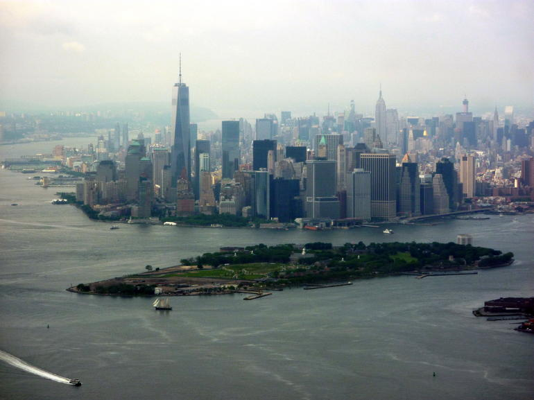 Views from the helicopter of lower Manhattan and Governors Island