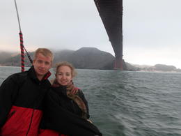 Our son and daughter cruising under the Golden Gate bridge , Peter B - August 2013